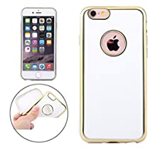 Sunny&Baby For iPhone 6 Plus & 6s Plus Electroplating Gold Edge Soft TPU Protective Case Anti-Skid ( Color : White )