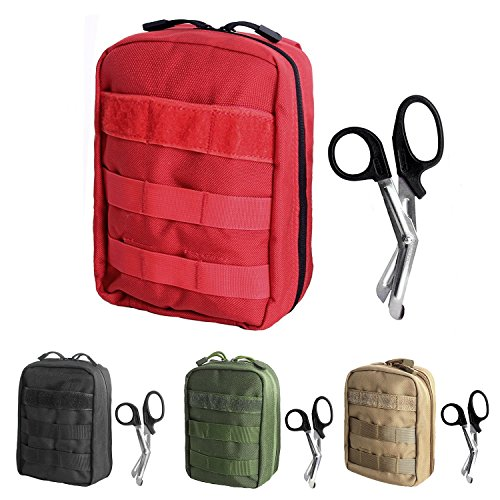 Tactical MOLLE EMT Pouch Medical Utility Bag 1000D Nylon with First Aid Patch and Shear (Red ()
