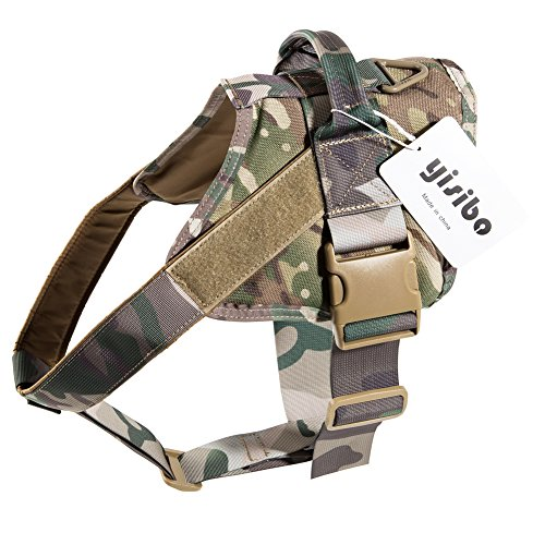 (yisibo Tactical Patrol Dog Harness Vest K9 Working Dog Vest with Removable Middle Chest Strap Quick Release Buckle Durable Handle Dog Vest (S, Camouflage)