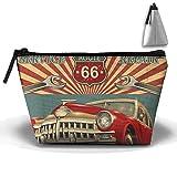 Vintage Car Garage Repair Service Makeup Bag Large Trapezoidal Storage Travel Bag Zipper Waterproof