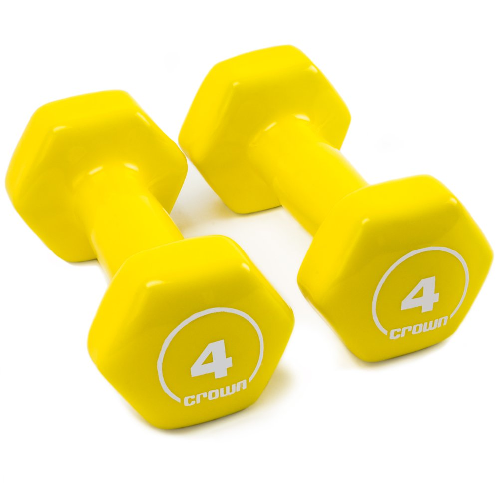 Crown Sporting Goods Brightbells Vinyl Hex Hand Weights, Spectrum Series I: Tropical - Colorful Coated Set of Non-Slip Dumbbell Free Weight Pairs - Home & Gym Equipment (4)
