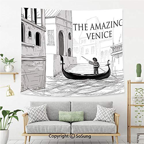 Venice Wall Tapestry,Canals of Venice Child Gondolier on Water Historical Amazing European City Sketch Decorative,Bedroom Living Room Dorm Wall Hanging,60X50 Inches,Black White