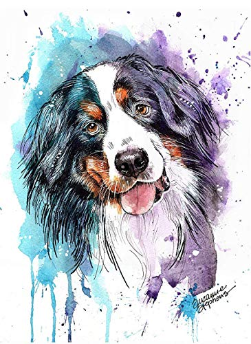 Bernese Mountain Dog Watercolor Art Print of Original Painting, Pet Themed Party Nursery Home Wall Decor, Gift for Dog Mom, Dad, Parent; Rainbow Bridge Pet Loss Sympathy Housewarming Animal Picture