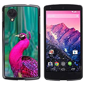 Cubierta protectora del caso de Shell Plástico || LG Google Nexus 5 D820 D821 || Green Vibrant Purple Feather @XPTECH