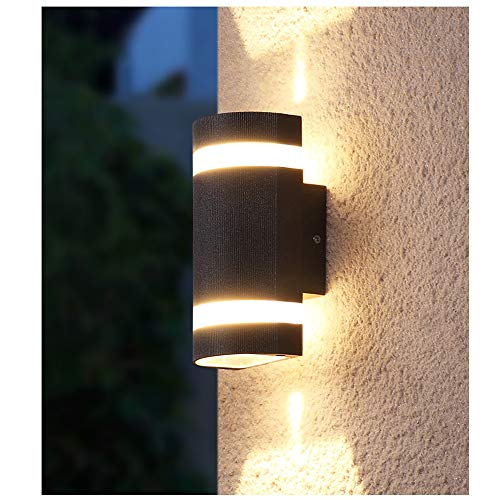 Bonnie-Sam Modern Patio Porch Outdoor Wall Light Fixture Outdoor Wall Sconce with Up Down Lights Black Finished (12W…