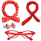 JustinCostume Women's 1950's Accessories Headband Scarf Glasses Earrings Red