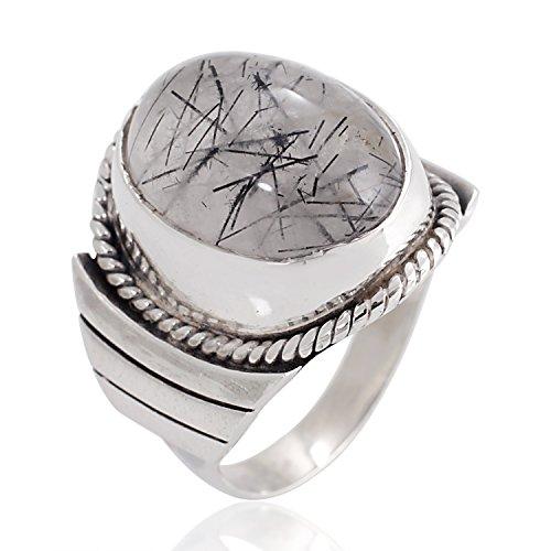 Chuvora 925 Sterling Silver Natural Black Rutile Quartz Gemstone Oval Rope Edge Unisex Band Ring 6, 7, 8