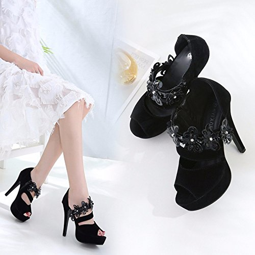 And Female 12Cm Autumn Shoes Black Six Summer Super KPHY Women'S Thirty Table Shoes Waterproof Heel High Mouth Fish Shoes Spring aZ5qIzxw5