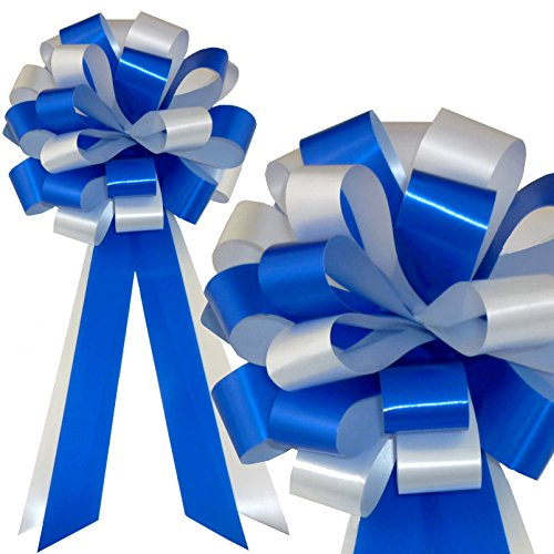 Royal Blue & White Wedding Pull Bows with Tails for Church Pews and Chairs - 8