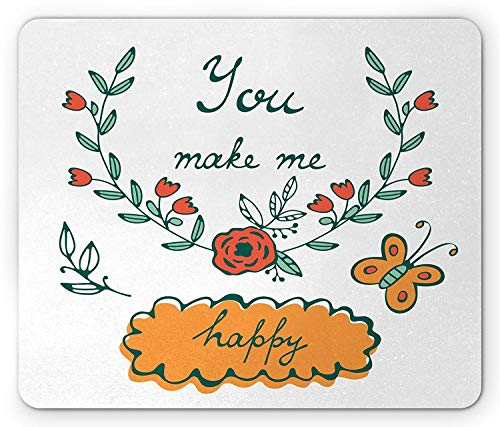 You and Me Mouse Pad, You Make Me Happy Concept Butterflies Rose Flowers Wreath, Standard Size Rectangle Non-Slip Rubber Mousepad, Hunter Green Vermilion Apricot,9.8 x 11.8 x 0.118 Inches (Happy Fish Apricot)