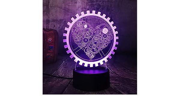 NUEVO Gearwheel LOVE Romantic 3D LED 7 Cambio de color Lámpara de ...