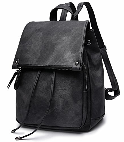 Stylish PU Leather Backpack For Women Lightweight Cute Mini Backpack For Women Fashion Design Drawstring School Waterproof Rusksack Black by SUNNY SHOP