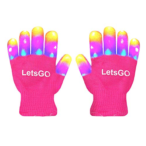 My-My Cool Toys for 5-10 Years Old Kids, Finger Light Hot Top Toys for Birthday Party Easter Present Top 10 Kids Toys for 3-10 Years Old Kids Light up Gloves New Toys 2019 Pink MMJSST08