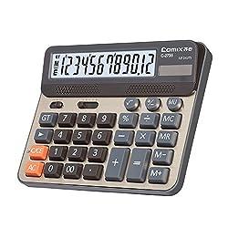 Comix Desktop Calculator, Large Computer Keys, 12 Digits Display, Champaign Gold Color Panel, C-2735