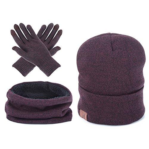 Unisex Winter Warm Beanie Hat - Scarf Touch Screen Gloves,3 Pieces Set (Wine red)