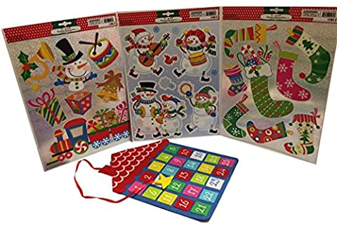 Felt House Countdown Activity with Snowmen & Stockings Window Cling Bundle - Gingerbread House Felt