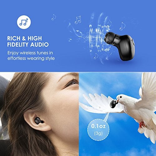 Mpow Wireless Earbud, V4.1 Mini Bluetooth Earbud, Car Bluetooth Headset Invisible Headphone with Mic, 6-Hr Playing Time Cell Phone Bluetooth Earpiece for iPhone Samsung Android (One Pcs, Two Charger)