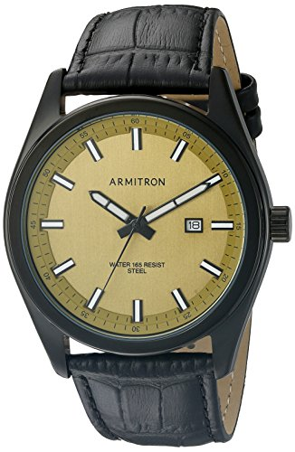 Armitron-Mens-205087GDTIBK-Date-Function-Dial-Black-Croco-Grain-Leather-Strap-Watch