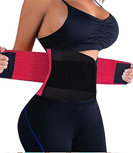FeelinGirl Adjustable Waist Trimmer Belt Workout Enhancer Stomach Body Wrap for Women&Men Size M Rose Red