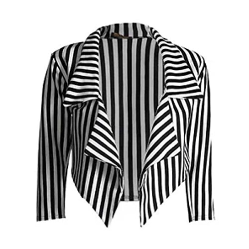 New Womens Black White Stripe Print Open Front Waterfall Crop Blazer Jacket -