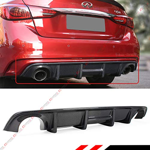 Fits for 2018-2019 Infiniti Q50 Glossy Carbon Fiber Shark Fin Rear Bumper Diffuser -