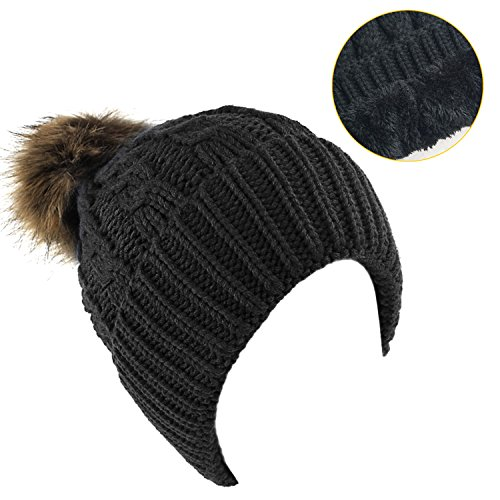 Women's Winter Fleece Lined Cable Knitted Pom Pom Beanie Hat