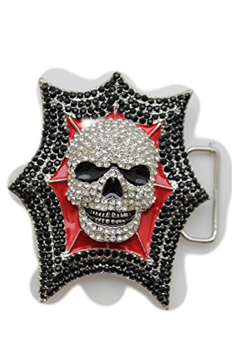 - TFJ Men Belt Buckle Gothic Fashion Silver Metal Large Heavy Skeleton Skull Explosion