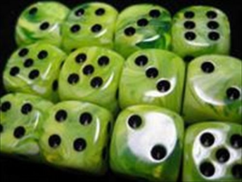(Chessex Dice D6 Sets: Vortex Bright Green with Black - 16Mm Six Sided Die (12) Block of Dice)
