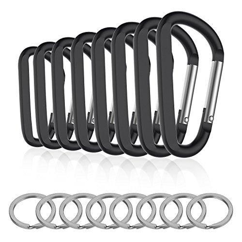 8PCS 8CM Carabiner Keychain Clips with Keyring,Mini Aluminum D Ring...
