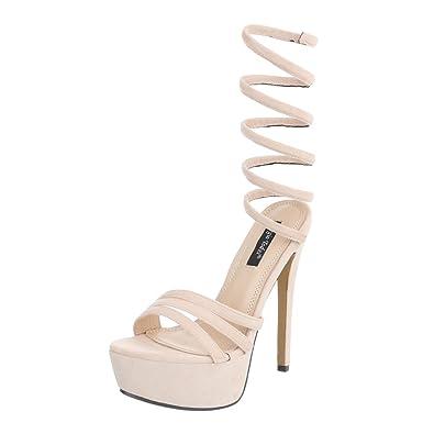 Ital Design High Heel Sandaletten Damenschuhe Plateau Pfennig /Stilettoabsatz High Heel Sandalen/Sandaletten