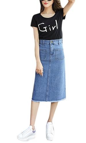 Women's Fashion Blue Distressed Fringe Slim Fit A Line Bodycon Midi Denim Skirts