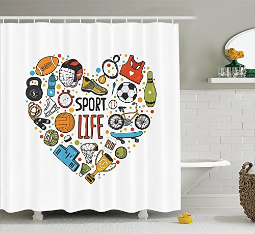 [Sports Decor Shower Curtain Set Heart Figure with Sports Icons Swimming Skating Muscle Good Lifestyle Healthy Living Design Bathroom Accessories] (Figure Skating Halloween Costumes)
