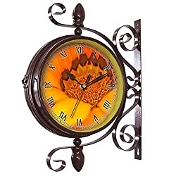 girlsight Wrought Iron Antique-Round Clock Wall Retro Station Chandelier Double Sided Wall Clock -360 Degree Quiet Grand Central Station Wall Clock103.Cape Basket, Flower, Spanish Marguerite