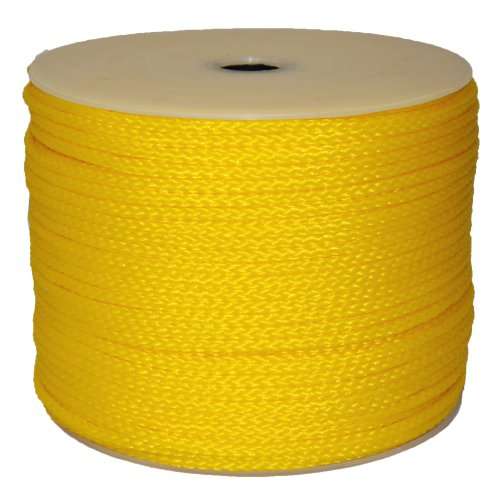 T.W Evans Cordage 27-302 1/4-Inch by 500-Feet Hollow Braid Polypro Rope, Yellow