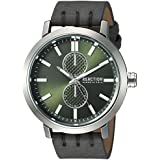 Kenneth Cole REACTION Men's Quartz Metal and Leather Casual Watch, Color:Black (Model: RK50098010)