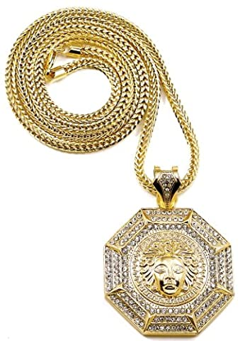 GWOOD Medusa Necklace Gold Color Iced Out Octagon Shaped Pendant Necklace With 36 Inch Franco Chain (Chief Keef Pendant)