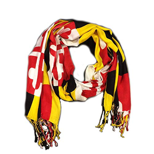 (Momstir Maryland Flag Viscose Pashmina Scarf Shawl with University of Maryland Colors 71