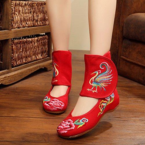 Avacostume Womens Paillettes Ricamo Phoenix Flats Cinturino Alla Caviglia Con Cinturino In Velluto Rosso