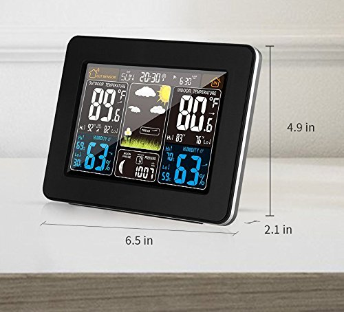 Atomic Wireless Weather Station with Indoor / Outdoor Wireless Sensor – TG645 Color Display Weather Station Alarm Clock With Temperature Alerts, Forecasting by Think Gizmos. Photo #6
