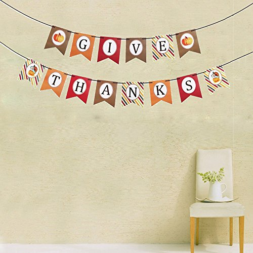 (Thanksgiving Banner Decor, Give Thanks Party Banner, Thanksgiving Accent Decor, Decorative Hanging Bunting Garland, Fall, Autumn Thanksgiving Party Decoration)