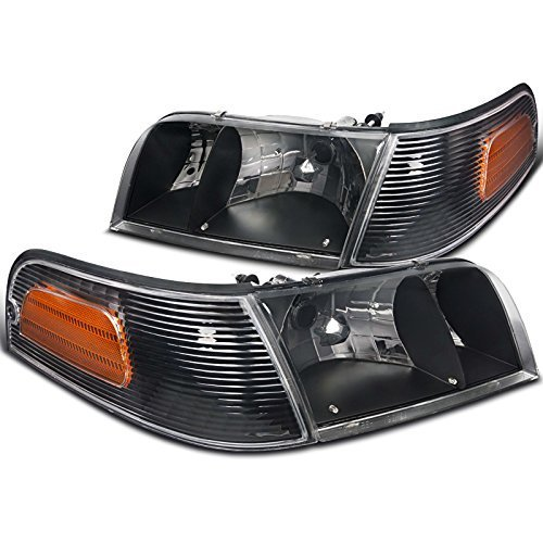 (Spec-D Tuning 2LCLH-VIC98JM-EU Ford Crown Victoria Crystal Black Headlights+Clear Amber Corner Lamps)