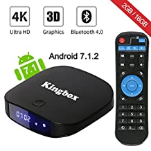 [2018 Version] Kingbox Android TV Box, K2 Android 7.1 Box 2GB+16GB Supporting 4K (60Hz) Full HDMI/H.265/Bluetooth 4.0/WiFi 2.4GHz Smart TV Box