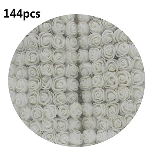 (snailmon 144pcs DIY Foam Roses with Silk, Mini Artificial Rose Flowers for Bouquet Wedding Party Home Decoration Craft, 2.5cm Fake Foam Roses )