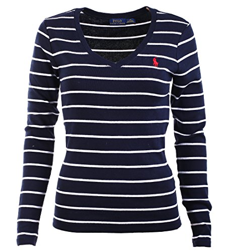 Polo Ralph Lauren Womens V-Neck Long Sleeve Perfect T-Shirt (M, (Navy Striped Polo)