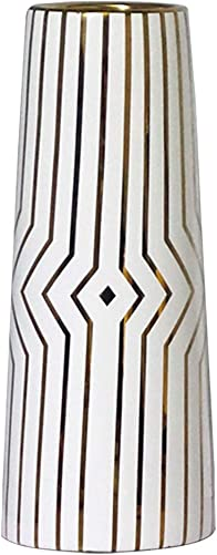 LIONWEI LIONWELI 12 White Gold Stripe Finish Ceramic Flower Vase Home Decor Vase and Table Centerpieces Vase – Ideal Gifts for Friends and Family, Christmas, Wedding, Bridal Shower