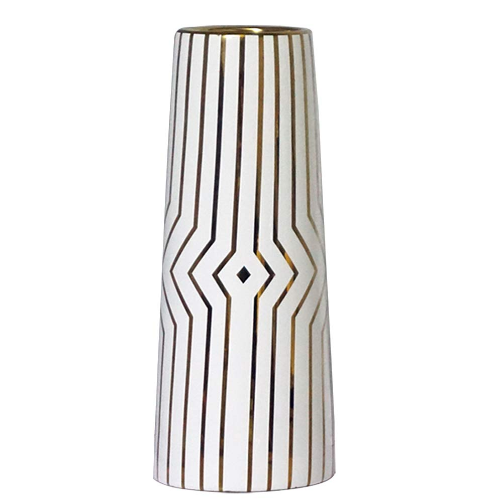 """LIONWEI LIONWELI 12"""" White Gold Stripe Finish Ceramic Flower Vase Home Decor Vase and Table Centerpieces Vase - Ideal Gifts for Friends and Family, Christmas, Wedding, Bridal Shower"""