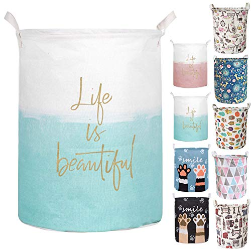 Merdes 19.7'' Waterproof Foldable Laundry Hamper, Dirty Clothes Laundry Basket, Linen Bin Storage Organizer for Toy Collection (Life Blue)