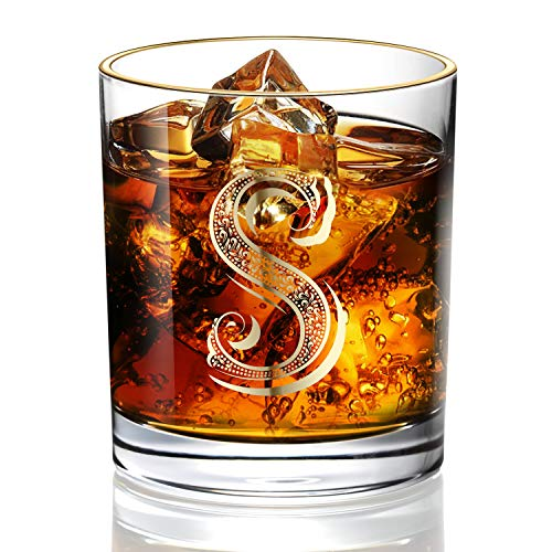 S Monogram Wedding Whiskey Glass for Men/Dad/Son, Vintage Unfading 24K Gold Hand Crafted Old Fashioned Whiskey Glasses, Perfect for Gift and Home Use - 10 oz Bourbon Scotch, Party Decorations -