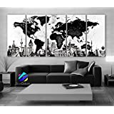 "Xlarge 30""x 70"" 5 Panels 30x14 Ea Art Canvas Print Original Wonders of the World Map Black & White Wall Decor Home Interior (Framed 1.5"" Depth)"