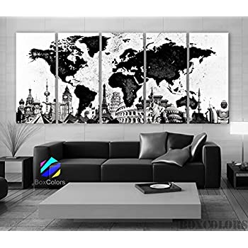 Amazoncom General World Map Black Background Wall Art Painting